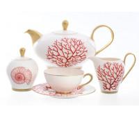 "Falken Porselan ""Corallo Red Gold"" сервиз чайный на 6 персон 15 предметов"