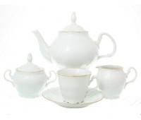 Бернадотт Белый сервиз чайный на 6 персон  15 предметов(ведерко)