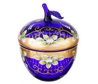 Синяя Лепка ваза для конфет яблоко 15 см