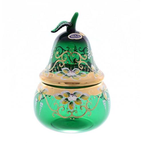 Зеленая Лепка ваза для конфет груша 20 см