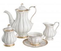 """Lefard. Чайный сервиз """"Барокко"""" с золотом на 6 персон 15 предметов в подарочной упаковке"""