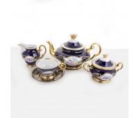 АГ 855 Кобальт Полевые Цветы чайный сервиз на 6 персон 15 предметов