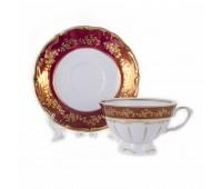 Барокко 202 Красный набор чайных пар 200мл 6 штук
