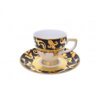 "Falken Porselan ""Тоска Блэк Голд"" набор для кофе 110мл на 6 персон 12 предметов"