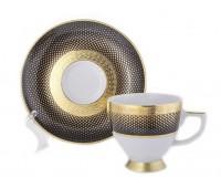 """Falken Porselan """"Рио Блэк Голд"""" набор чашек с блюдцами для черного кофе 6 шт"""
