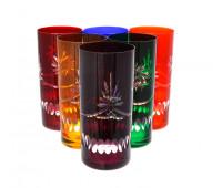 Хрусталь Цветной Комета набор стаканов 350мл 6штук