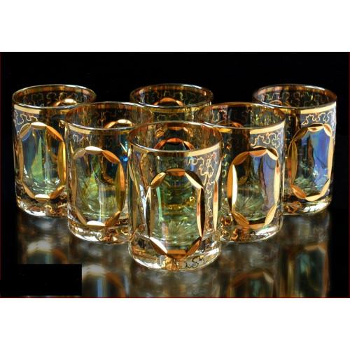 Цветной Хрусталь Аурум Изумруд набор стаканов 60 мл 6 штук