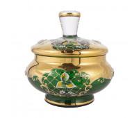 Зеленая Лепка ваза для конфет 18 см с крышкой