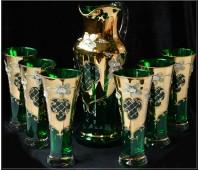Зеленая Лепка кувшин и 6 стаканов Испанский