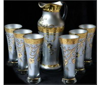 Версаче Фон Кристалы Платина набор кувшин и 6 стаканов Испан
