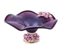Кристал Фиолетовая ваза для фруктов 38см, высота 21см