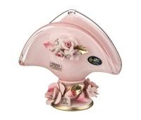 Кристал Розовая салфетница 15см