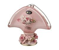 Кристал Розовая салфетница 16см