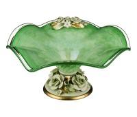 Кристал Зеленая ваза для фруктов 45см, высота 21см