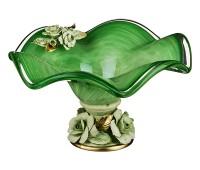 Кристал Зеленая ваза для фруктов 25см, высота 14см