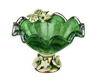 Кристал Зеленая ваза для фруктов 25см, высота 17см
