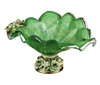 Кристал Зеленая ваза для фруктов 43х34см, высота 22см