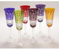 Хрусталь Цветной Рифленый набор хрустальных фужеров из 6ти штук 150мл