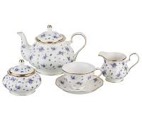 """Lefard. Чайный сервиз """"Голубой цветок"""" на 6 персон 17 предметов"""