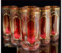 Цветной Хрусталь  Рубин набор стаканов 360мл 6штук
