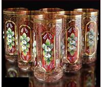 Хрусталь  Смальта Рубин набор стаканов 350 мл 6 штук