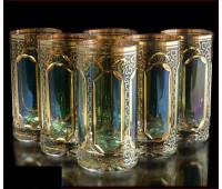 Цветной Хрусталь Аурум Изумруд набор стаканов 360 мл 6 штук
