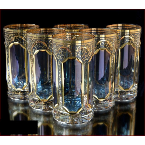 Цветной Хрусталь  Топаз набор стаканов 360 мл 6 штук