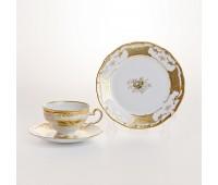 """Веймар """"Кленовый Лист Белый 408"""" набор 6 чашек/6 блюдец 210мл и 6 тарелок 17см"""