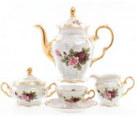 Роза Перламутр Фредерика кофейный сервиз  Мокка (чашки 100мл) на 6 персон 15 предметов