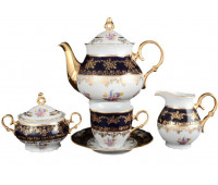 Констанция Полевой цветок Кобальт сервиз чайный на 6 персон 17 предметов