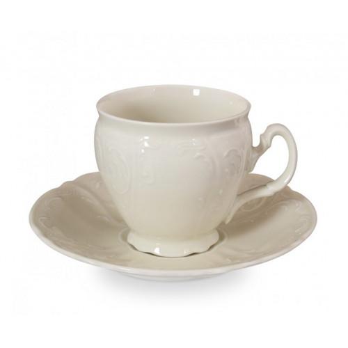 Бернадотт Ивори Недекорированный 0000 набор чашек с блюдцами для кофе 90мл 6 штук