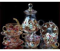 German Хрусталь с Золотом чайный сервиз на 6 персон 14 предметов
